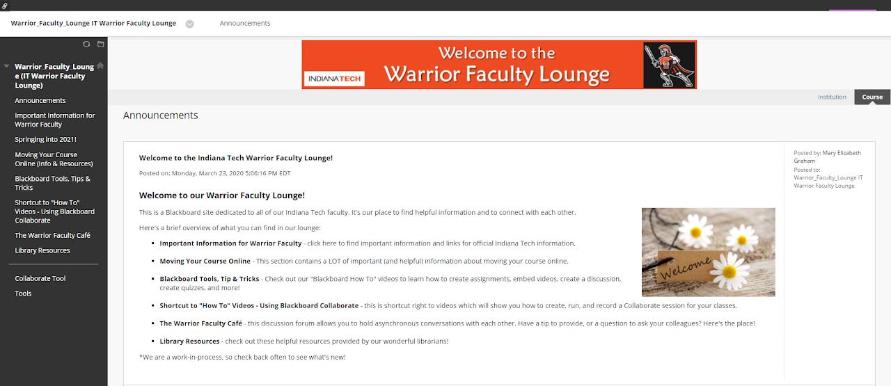 warrior faculty lounge on blackboard