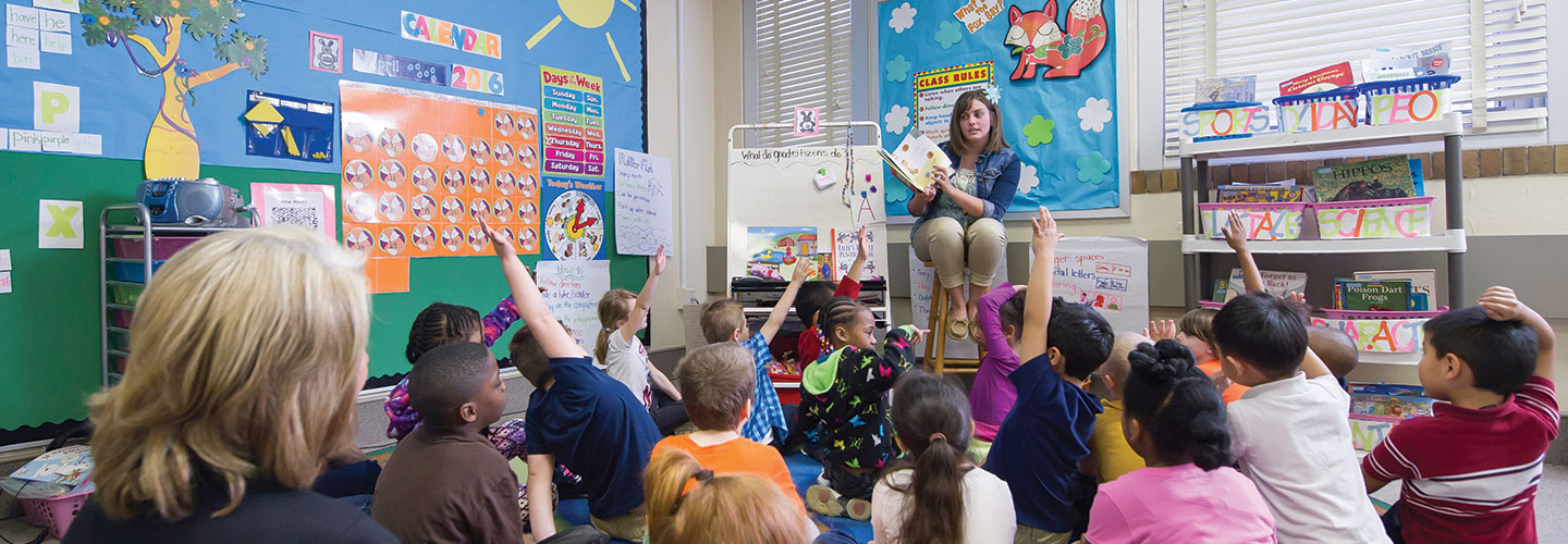 Former Indiana Tech student working as a full time teacher in a classroom with students